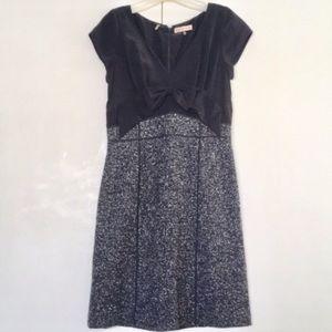 Rebecca Taylor Black & Tweed Dress w/ Bow Detail